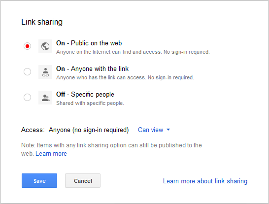 change share setting for public