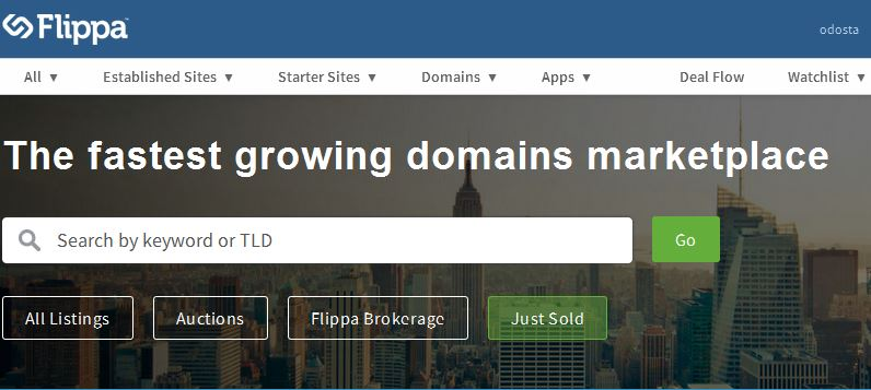 buy and sell domain with flippa