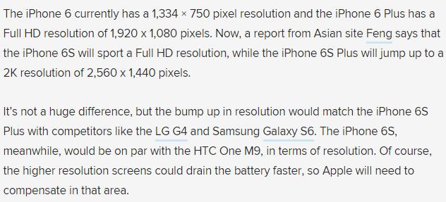 iPhone 6s resolution pixel